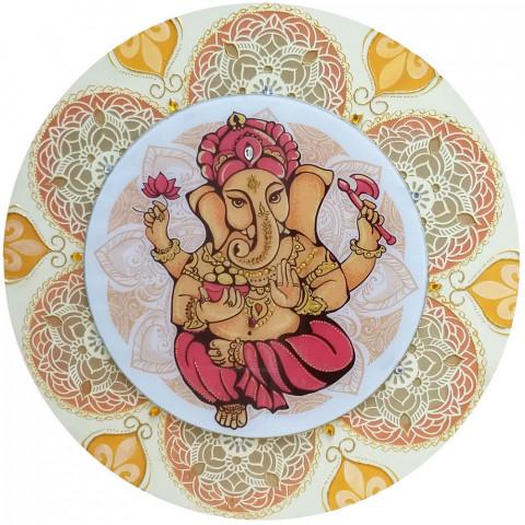486-7 Mandala de Madeira Ganesha - 60 cm