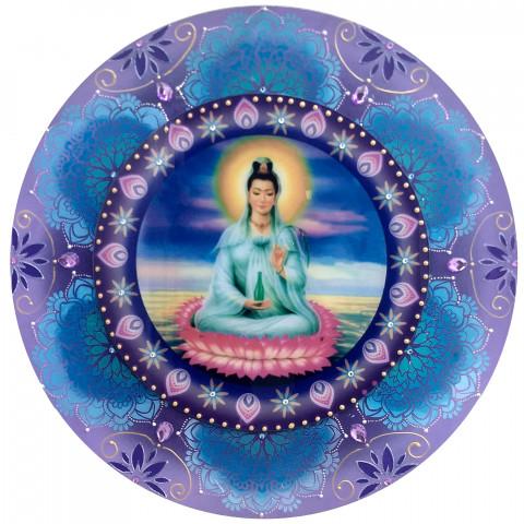 486-1- Mandala de Madeira Kuan Yin - 60 cm
