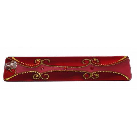 1633 - Incensário de Vidro - Vermelho (6x25)