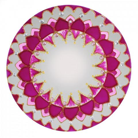 460-4 ESPELHO DECORADO ROSA -20 CM