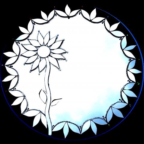 484 -  Espelho Girassol Preto (50cm)