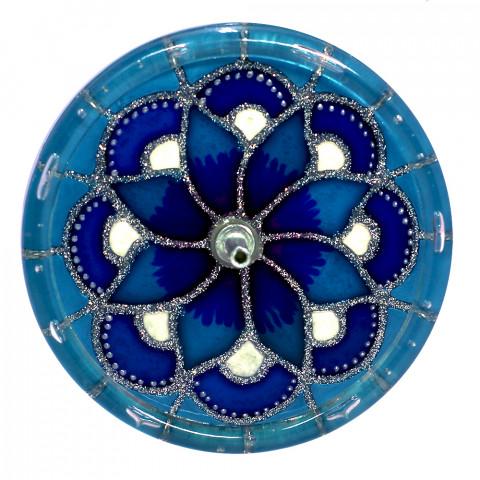 650-12-Incensário Redondo Flor Azul 10 cm