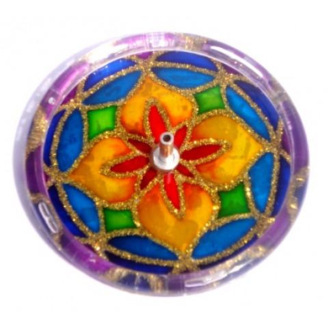 650-13-Incensário Redondo Mandala 10 cm