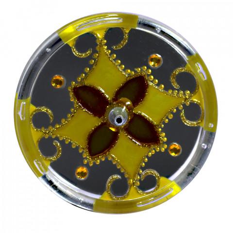 650-4-Incensário Redondo amarelo 10 cm