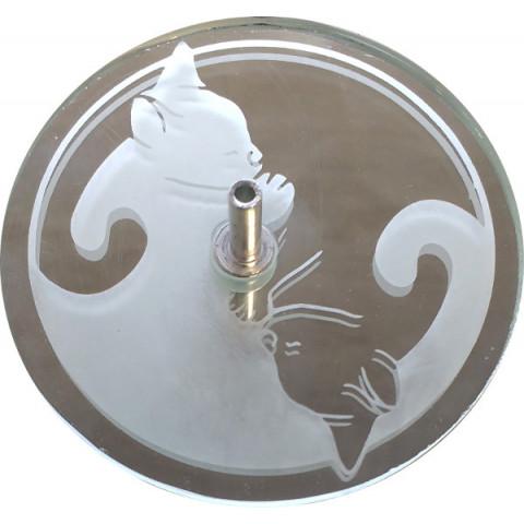 730-5 Incensário Jato yin yang gato 8cm