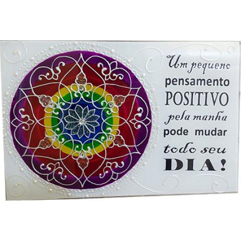 740 -PLACA  MANDALA  PENSAMENTO POSITIVO (20X30)