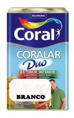 LATEX CORALAR DUO 18LTS BRANCO INT/EXTERIOR