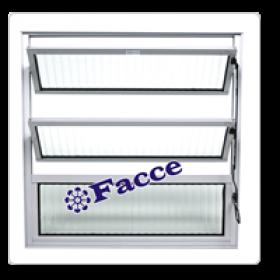 Vitraux Basculante 60 x 80 Vidro Canelado Alumínio