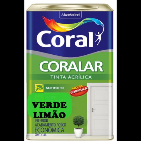 LATEX CORALAR ACRIL 18LTS VERDE LIMÃO