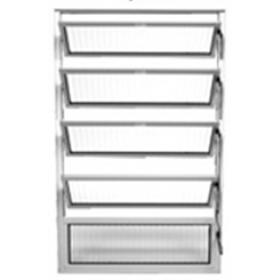 Vitraux Basculante 1,00 x 1,00 Alumínio Vidro Canelado