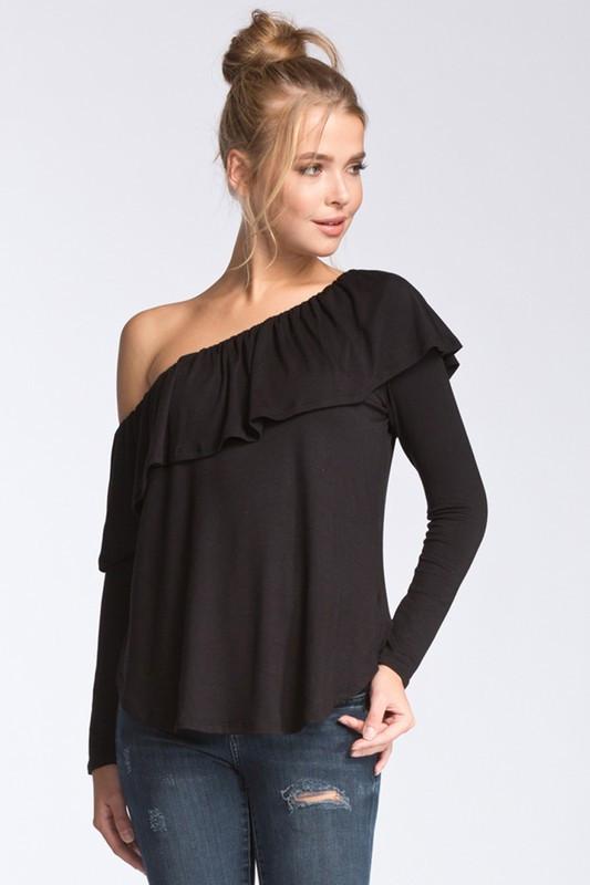 Blusa one-shoulder babados Ref.: 271100197