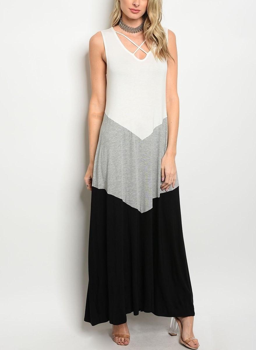 Vestido Longo Colorblock Ref.: 271100270