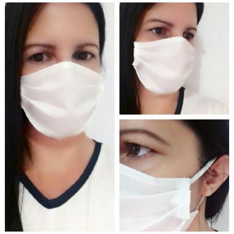 Kit 5 Máscaras Laváveis em tecido - Cor Branca