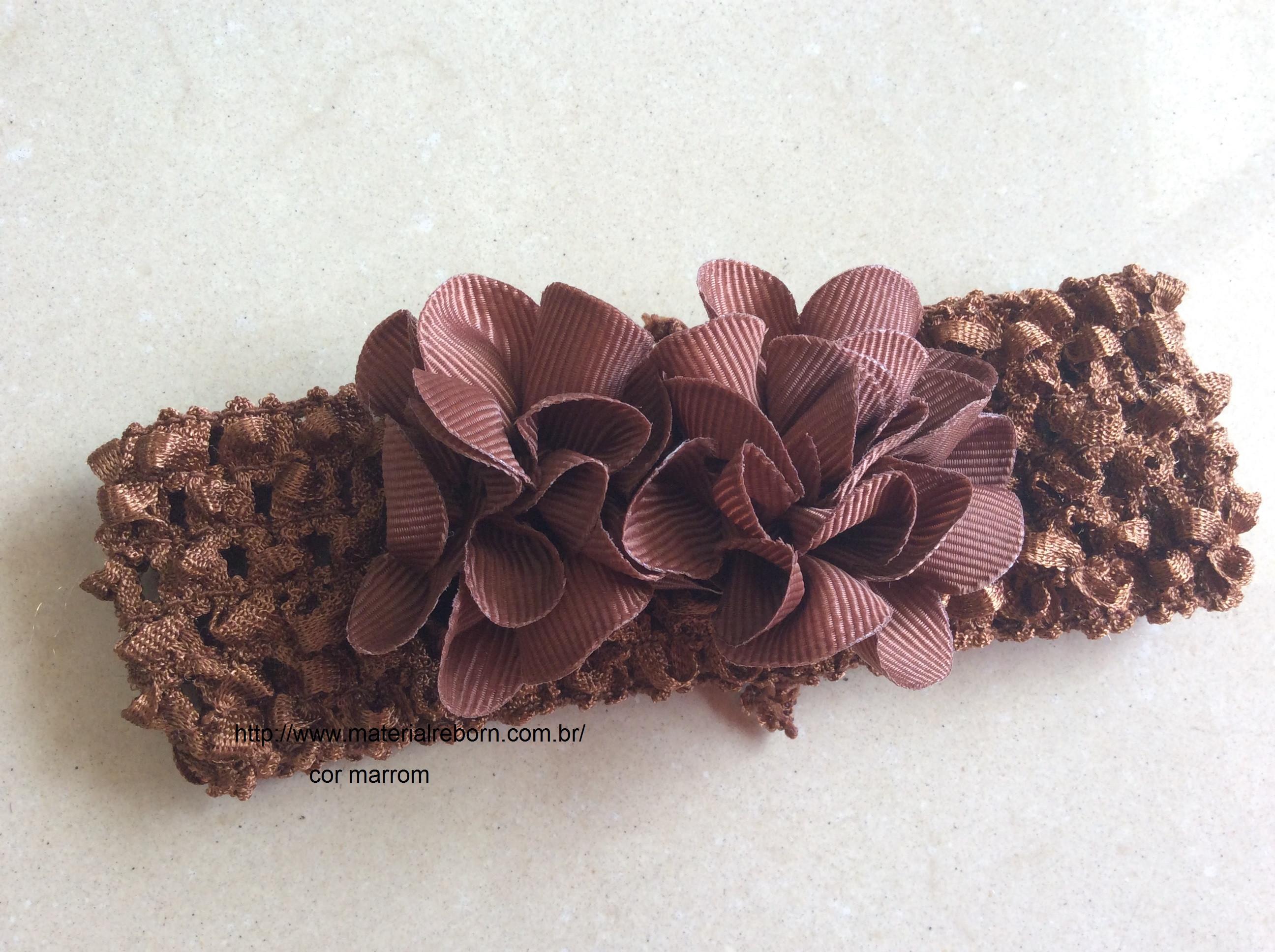 Faixa de cabelo com 2 flores -Marrom