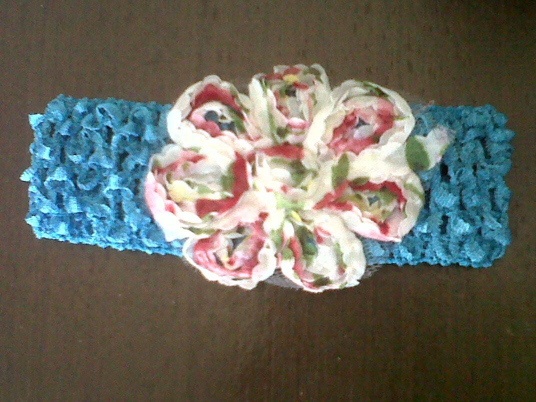 faixa de cabelo com flor - Azul