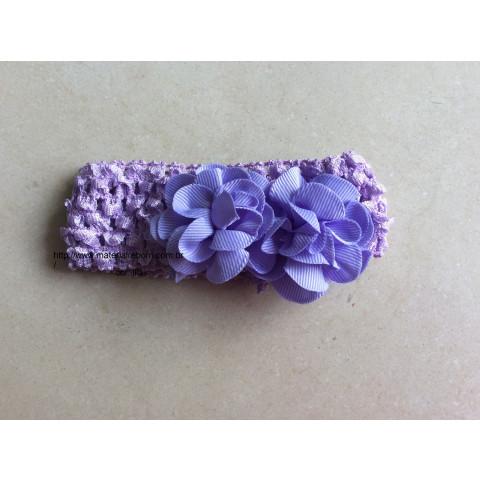 Faixa de cabelo com 2 flores -Lilás