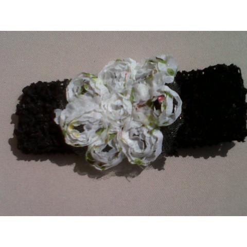 Faixa de cabelo com flor -preta
