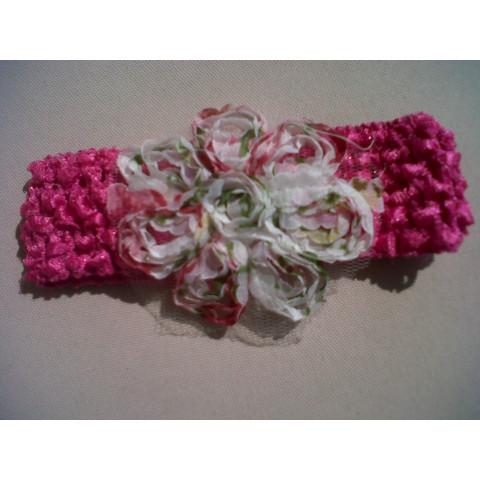 faixa de cabelo com flor -Vermelha