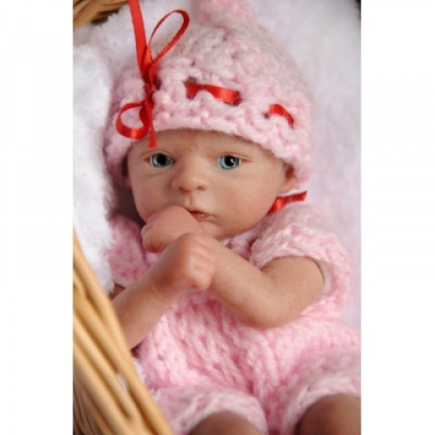 Mini Bebê Flora com corpo importado e olho de vidro azul ULTIMO KIT