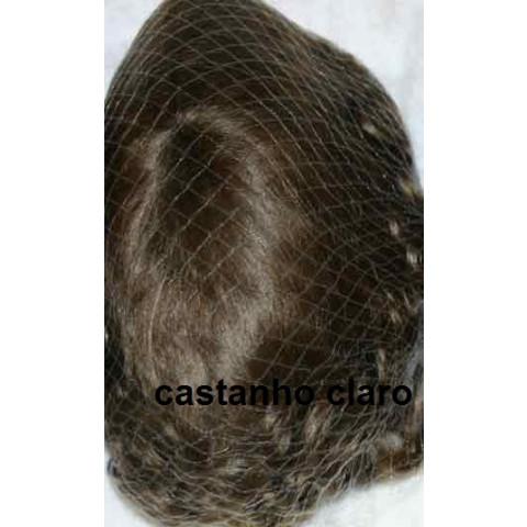 Peruca Encaracolada de mohair-castanho claro 12-13