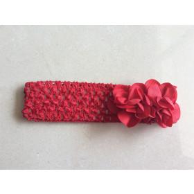 Faixa de cabelo com 2 flores -Vermelha
