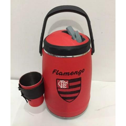 Garrafa Térmica Revestida em Couro Flamengo