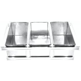 Conjunto Pão de Forma 750 gramas 3 Canecas 32x12x12 cm - Aluminio 1,0 mm - resistente - quadro de adaptação 58x70 cm