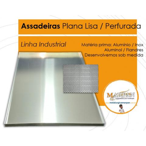 ASSADEIRA PLANA LISA MASTER 58X70X3,5 CM ALUMÍNIO 1,2 MM VIRADA E AMASSADA