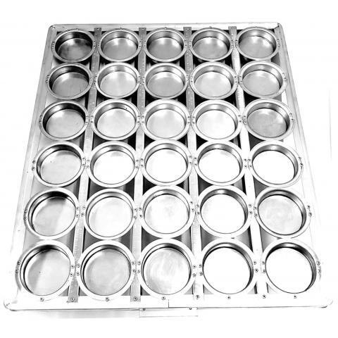 Assadeira mini pão de hambúrguer 58x70 cm com 30 cavidades 8X2 cm (Alumínio) imagem ilustrativa