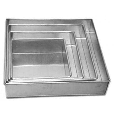 Conjunto Bolo de Casamento de formas quadrada ALTA (Alumínio) com 4 peças