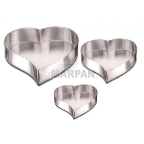 Conjunto decorativo forma modelo coração com 3 peças (Aluminio)