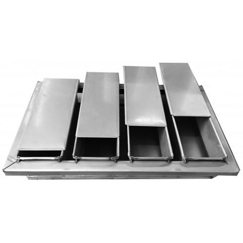 Conjunto Pão de Forma com 4 canecas 500 gramas 30x10x10 cm (Alumínol) com tampas individuais