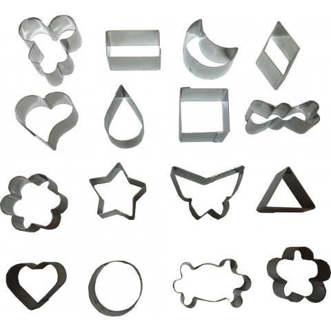 Jogo de cortador Petit - Four com 16 peças pequeno (inox)