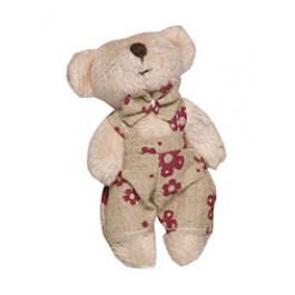 [Pelucia] Urso Bege Jardineira Florida Vermelha