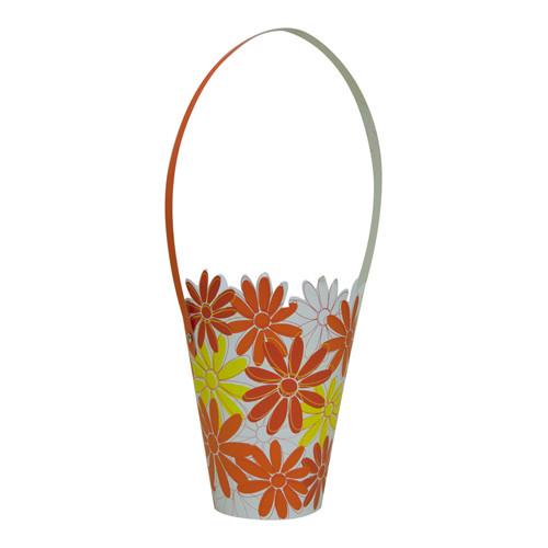 Cachepot Conico com Alça Florais Laranja