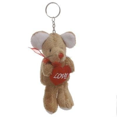 Chaveiro de Pelúcia - Rato com Coração (marrom)