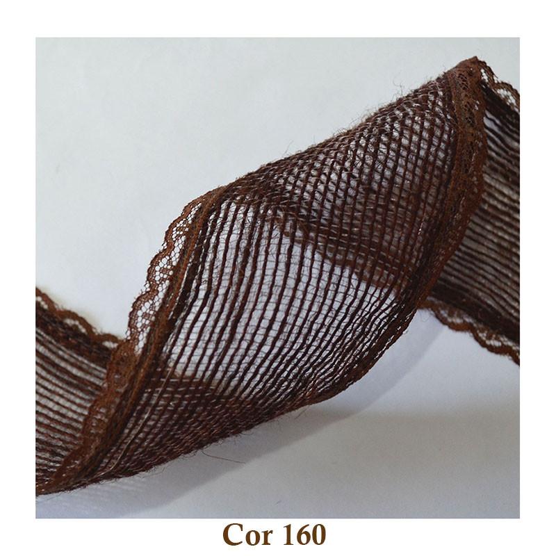 Fita de Juta com Renda - Marrom [Largura 5,0 cm]