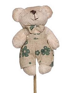 Pick Pelucia - Urso Bege Jardineira Florida Verde