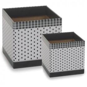 Cachepot P - Quadrado Branco com Poá Preto