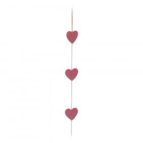 Cordão Corações - Felt Rosa