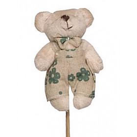 [Pacote] Pick Pelucia - Urso Bege Jardineira Florida Verde
