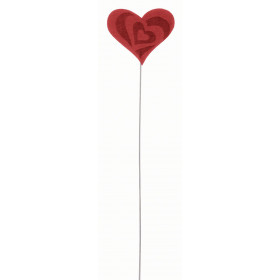 Pick Coração Felt - Vermelho (12 unidades)