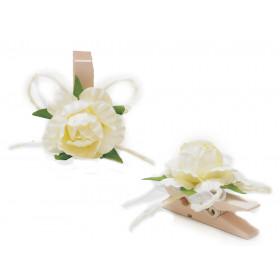 Pregador Floral - Mini com Laços Branco