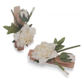 Pregador Floral Rosa Dobrada - Cor Branca