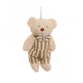 Ursinho com Jardineira Listras - Branco/Bege (10 cm)