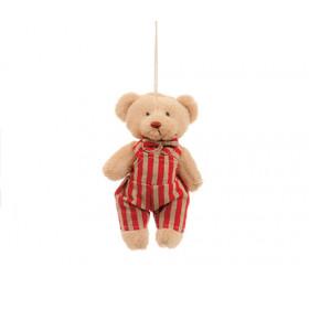 Ursinho com Macacão de Listras Vermelho (11 cm)