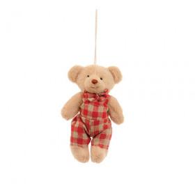 Ursinho com Macacão Xadrez Vermelho (11 cm)