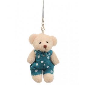 Ursinho de Jardineira Azul de Poá (7 cm)