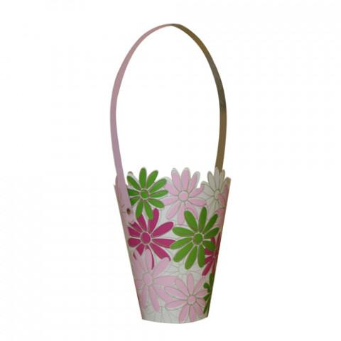 Cachepot Conico com Alça Florais Pink
