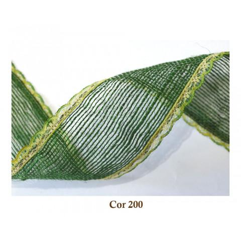 Fita de Juta com Renda - Verde Oliva [Largura 5,0 cm]